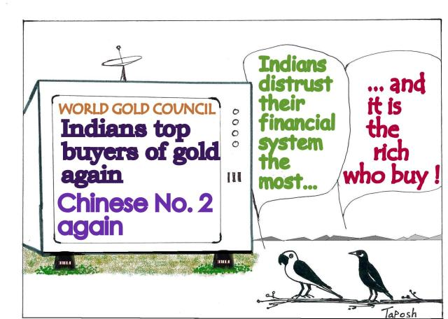 Indian belief in gold is not a recent - but a centuries of trust and habit. Cartoon courtesy - indiauploads.wordpresscom. Click for larger image.